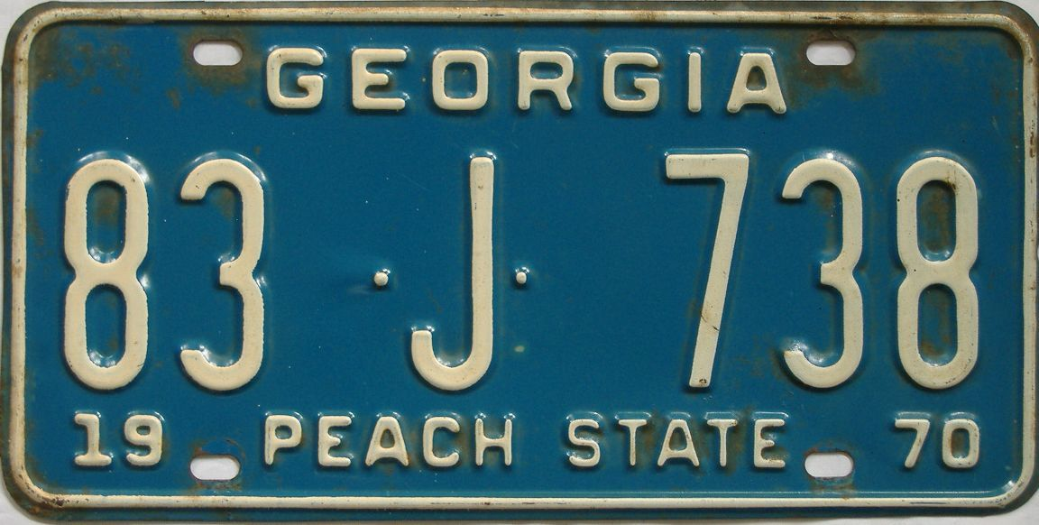 YOM 1970 Georgia license plate for sale