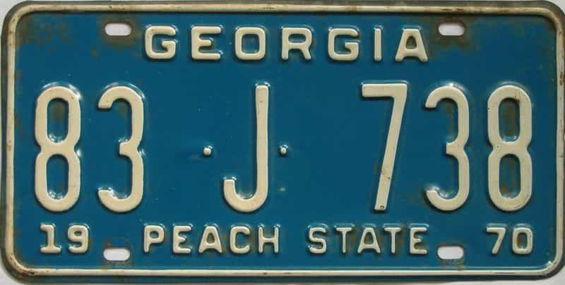 YOM 1970 GA license plate for sale