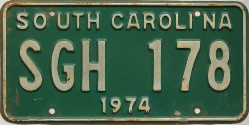 1974 SC (Single) license plate for sale