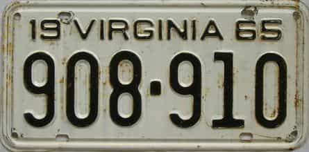 1965 Virginia (Single) license plate for sale