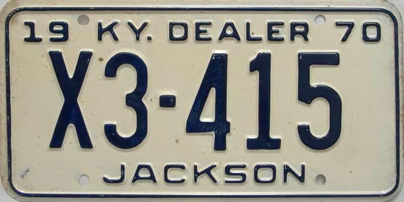 1970 Kentucky  (Dealer) license plate for sale
