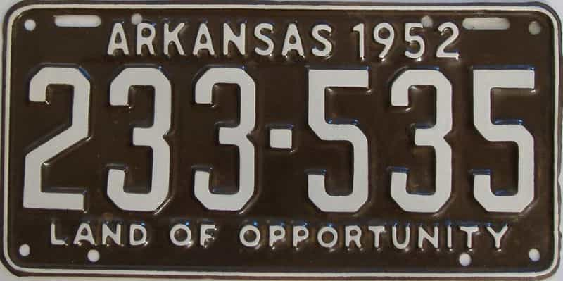 1952 Arkansas  (Relettered) license plate for sale