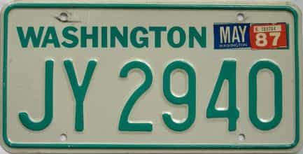 1987 Washington (Single) license plate for sale