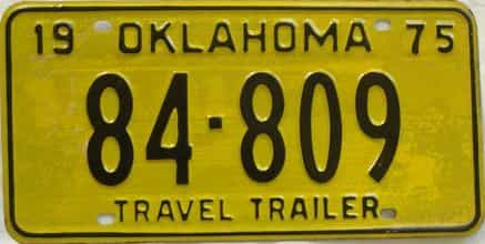 1975 Oklahoma  (Trailer) license plate for sale