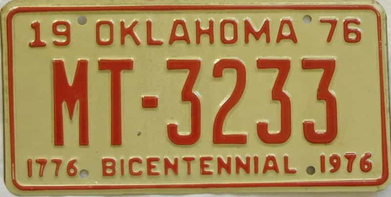 1976 OK license plate for sale