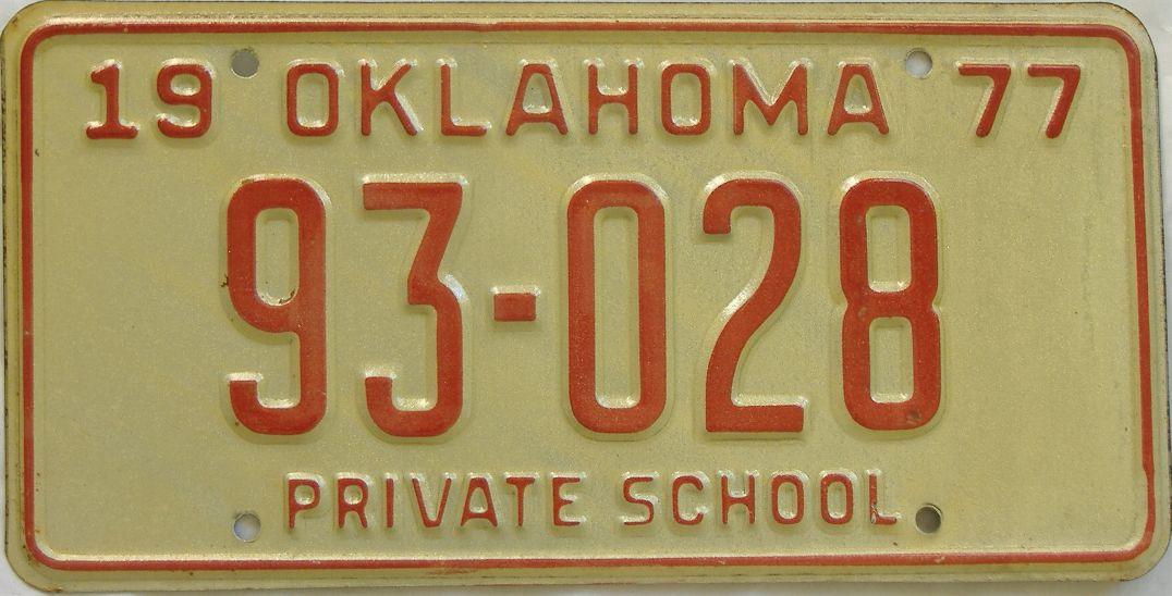 1977 Oklahoma (Non Passenger) license plate for sale