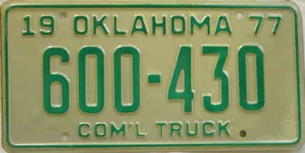 1977 Oklahoma  (Truck) license plate for sale
