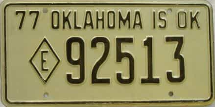 1977 Oklahoma (Non Passenger) license plate for sale