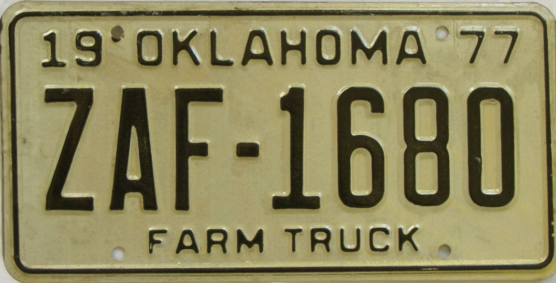 1977 Oklahoma (Farm Truck) license plate for sale