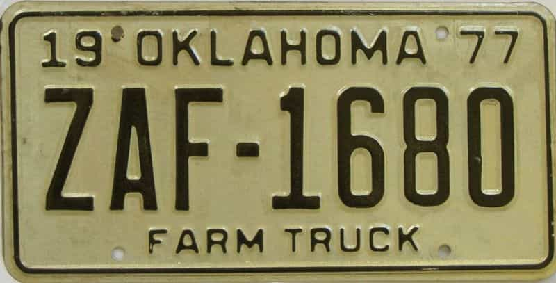 1977 OK (Farm Truck) license plate for sale