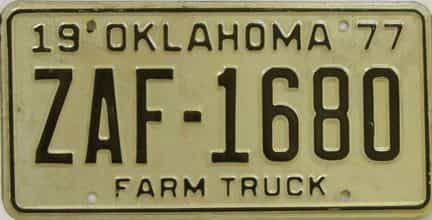 1977 Oklahoma (Farm Truck) license plate for sale