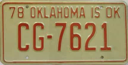 1978 Oklahoma license plate for sale