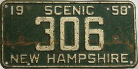 1958 New Hampshire (Single) license plate for sale