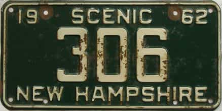 1962 New Hampshire  (Single) license plate for sale