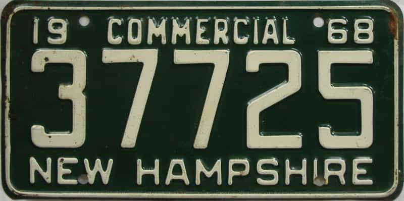 1968 NH (Non Passenger) license plate for sale