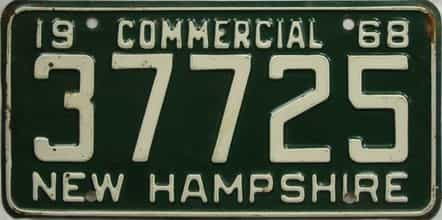 1968 New Hampshire (Non Passenger) license plate for sale