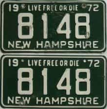 1972 New Hampshire  (Pair) license plate for sale