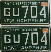 1979 New Hampshire  (Pair) license plate for sale