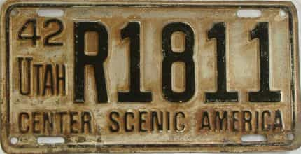 1942 Utah (Single) license plate for sale