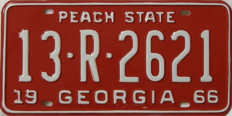 YOM RESTORED 1966 GA (Truck) license plate for sale