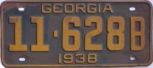 YOM 1938 Georgia (Single) license plate for sale