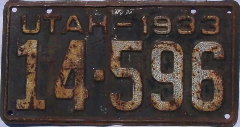 1933 UT (Single) license plate for sale