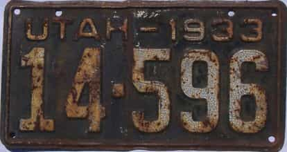 1933 Utah (Single) license plate for sale