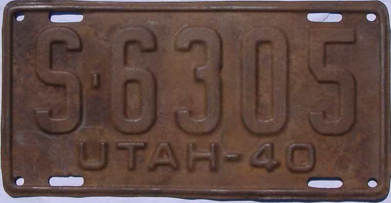 1940 UT (Single) license plate for sale
