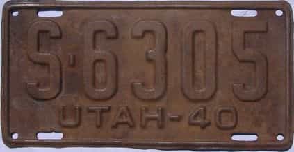 1940 Utah (Single) license plate for sale
