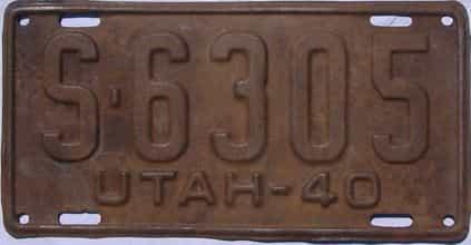 1940 Utah  (Single) license plate for sale