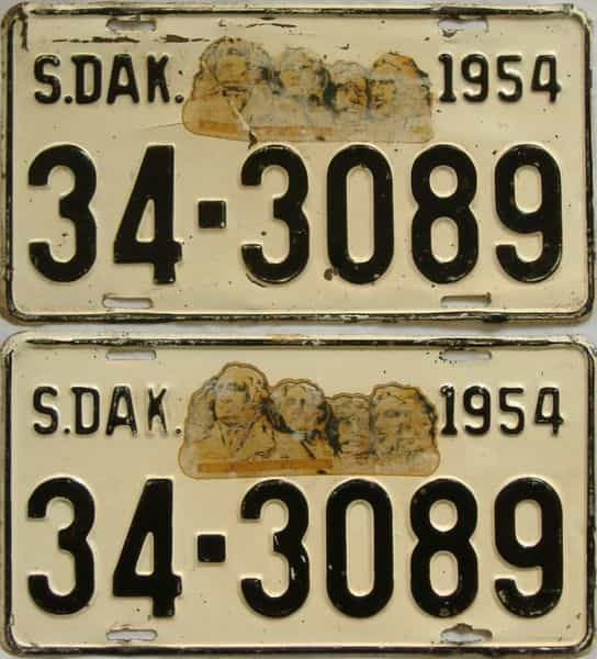 1954 SD (Pair) license plate for sale