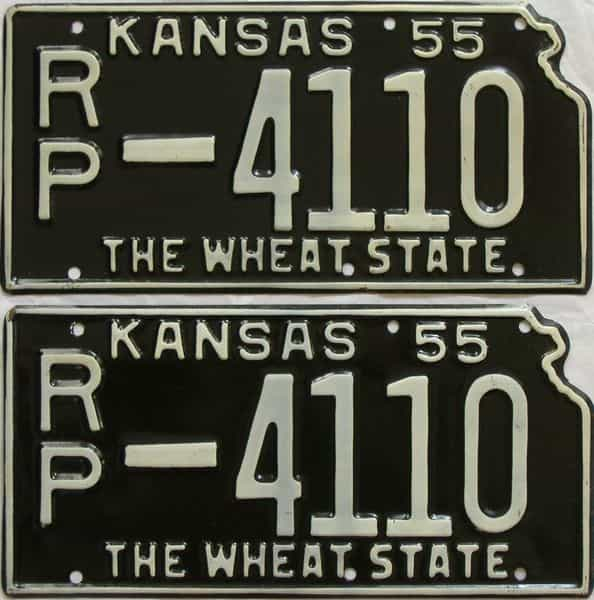1955 Kansas  (Pair) license plate for sale