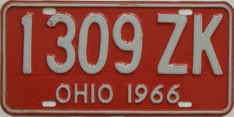 1966 Ohio (Single) license plate for sale