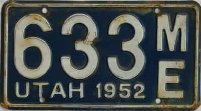 1952 Utah license plate for sale