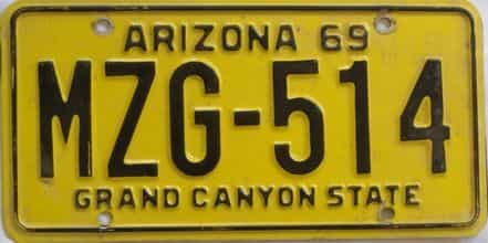 1969 Arizona (Single) license plate for sale