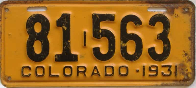 1931 CO (Single) license plate for sale