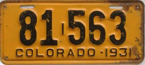 1931 Colorado (Single) license plate for sale