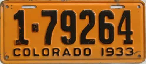 1933 Colorado (Single) license plate for sale
