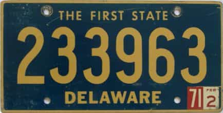 1971 Delaware license plate for sale