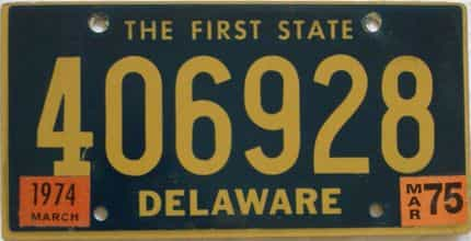 1975 Delaware license plate for sale