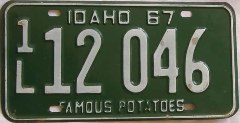 1967 ID (Single) license plate for sale