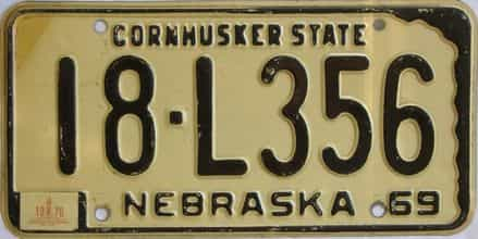 1970 Nebraska (Single) license plate for sale