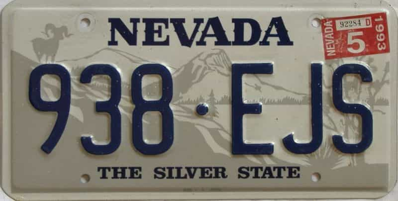 1993 Nevada  (Single) license plate for sale