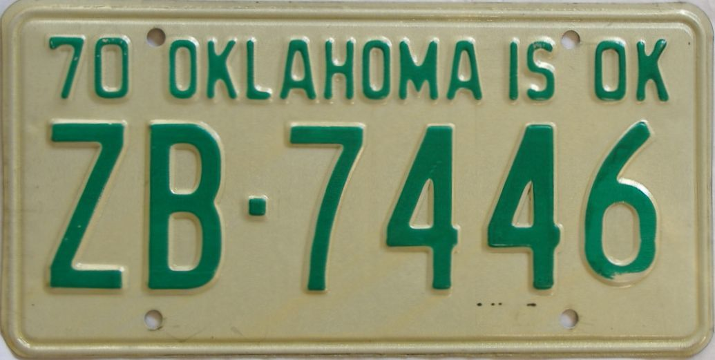 1970 Oklahoma license plate for sale