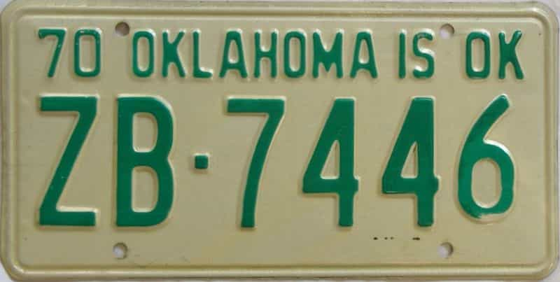 1970 OK license plate for sale