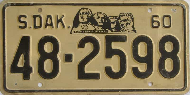 1960 SD (Single) license plate for sale