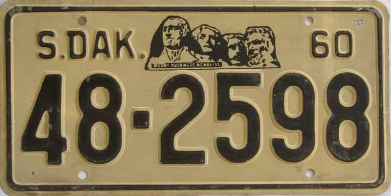 1960 South Dakota (Single) license plate for sale
