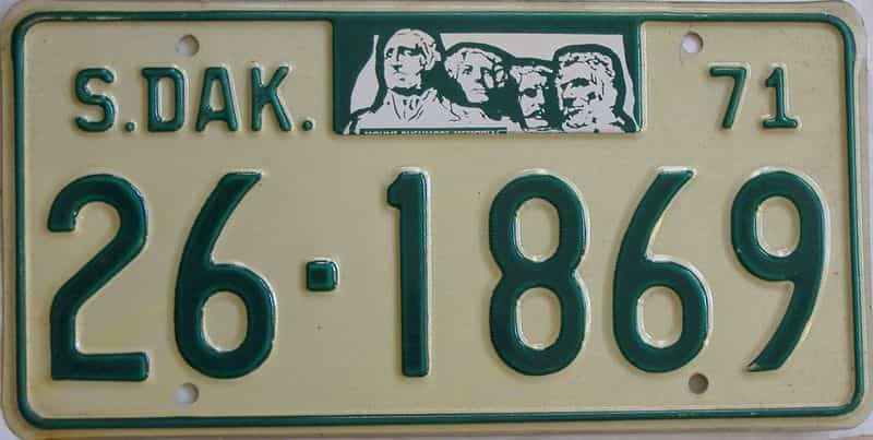 1971 South Dakota  (Single) license plate for sale