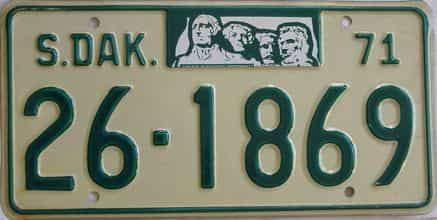 1971 South Dakota (Single) license plate for sale