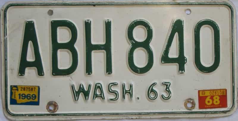 1969 Washington (Single) license plate for sale